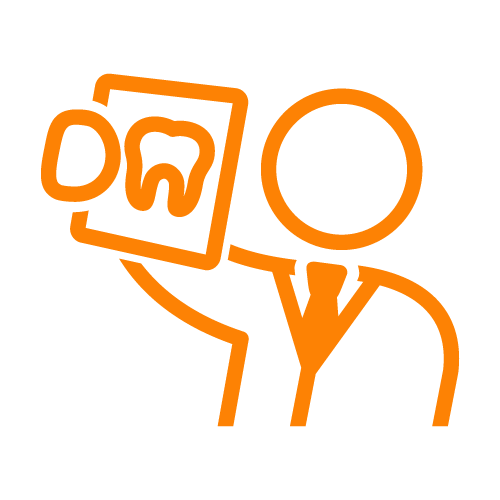 Orange line icon of a dentist holding a tooth x-ray
