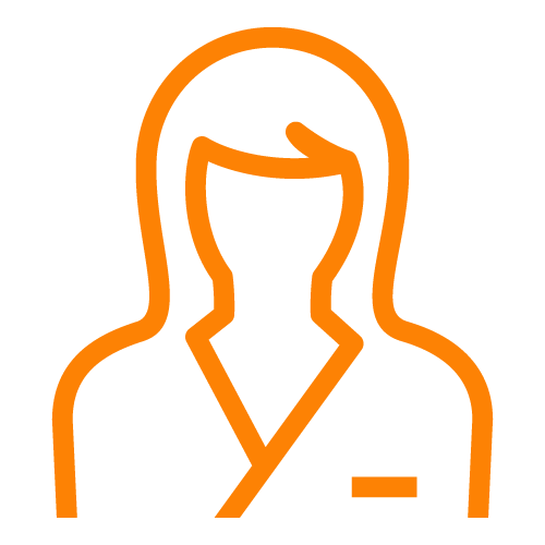 Orange line icon of a female person's outline