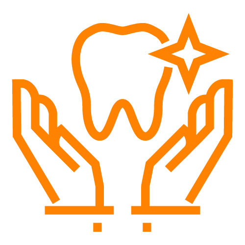 Orange line icon of hands holding a tooth